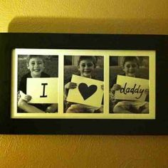 Great Father's Day Gift idea. If you have multiple kids you could have one in each picture. Would be really cool to do one each year and watch your kids age. @ decorating-by-day Fathers Day Photo, Fathers Day Crafts, Great Father's Day Gifts, Cute Gifts, Holiday Crafts, Holiday Fun, Daddy Day, Crafts For Kids, Diy Crafts