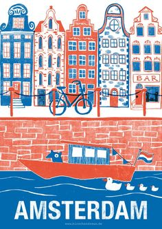 Called by numerous as Holland, the city of Amsterdam is the most checked out center in the Netherlands. Recent stats have shown that more than million tourists are coming to go to Amsterdam per year. Hirsch Illustration, Travel Illustration, Digital Illustration, Tourism Poster, Poster S, Poster City, Illustrations Vintage, Illustrations And Posters, Amsterdam Netherlands