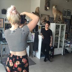 Behind the scenes of one of our first west coast shoots for the new #dsbook - @kellikehler was on hand with @woodnotephotography in San Diego to photograph an amazing tattoo artist we love named Jasmine Wright ❤️