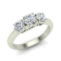 Round Brilliant Diamond Three Stone Anniversary Wedding Ring in 14K Gold (G,VS)
