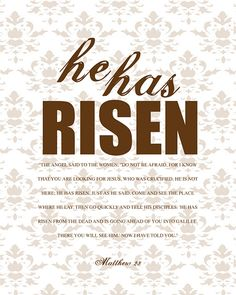 """He has Risen"" free printable: also available in pink, yellow, blue and green text"