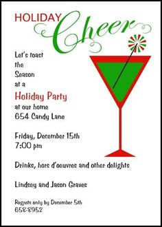 Find festive holiday christmas company party invites at image result for cocktails and hors doeuvres party invitation wording stopboris Choice Image