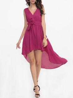 v neck bowknot plain date party high low flared, Plain Bowknot Delightful Deep V Neck Skater-dress