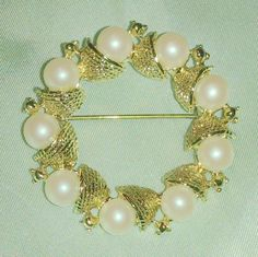 Vintage Faux Pearl Gold Tone Circle Brooch by BorrowedTimes