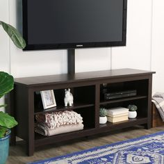 58 Inch Wood Media TV Stand Console With Mount, Multiple Colors, Brown