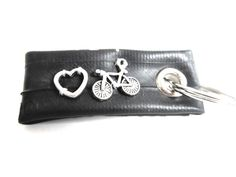 """""""♥ cycling"""" tiny keyfob made of bicycle inner tube by #tubnub"""