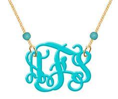 Monogram Necklace Custom Turquoise Monogram by CrazyDazyyy on Etsy, $29.99