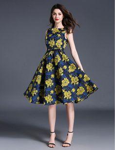 Vintage Style Elegant Floral Print Swing Formal Work Dress (with pockets! Modest Dresses, Cheap Dresses, Cute Dresses, Beautiful Dresses, Casual Dresses, Fashion Dresses, Dresses For Work, Retro Fashion, Vintage Fashion