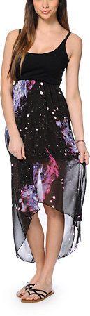 See You Monday Galaxy Print Chiffon High Low Dress at Zumiez : PDP