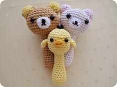 FREE Crochet Pattern: Kawaii and Cute Baby Rattles Amigurumi : Rilakkuma, Korilakkuma & Kiiroitori | Nanaliciouz Knit Or Crochet, Crochet Baby Toys, Crochet Gifts, Crochet Animals, Cute Crochet, Crochet Dolls, Crochet For Kids, Baby Knitting, Baby Rattle