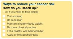Cancer risk checklist. What can you change today to live a healthier life? #aging #seniors #boomers