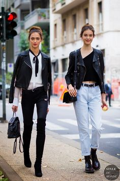 Models ‎Zhenya Katava and Irina Shnitman‬ serving up a double dose of New York streetstyle.