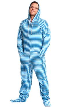 Blue Stripes Hooded Footed Pajamas features: hoodie, thumb holes, kangaroo style front pockets and a media pocket. 100% polar fleece, preshrunk, fully machine washable. See size chart for full sizing details $49.99