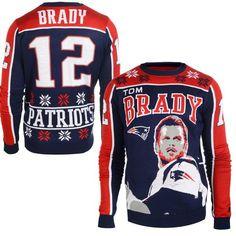 Men's New England Patriots Tom Brady Klew Navy Name & Number Ugly Sweater Ugly Sweater, Sweater Shirt, Ugly Christmas Sweater, Patriotic Outfit, Patriotic Shirts, Tom Brady News, Only Clothing, Nfl New England Patriots, Nhl Jerseys