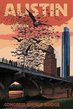 Austin, Texas - Bats and Congress Avenue Bridge Art Print, Wall Decor Travel Poster) Poster Retro, Retro Print, Poster Prints, Art Prints, Art Posters, Design Poster, Texas Travel, Texas Hill Country, Vintage Travel Posters