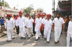 "vikram goud with his INC party members during the ""bonalu"" festival"