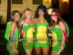 Donatello, Michaelangelo, Raphael and Leonardo! For our Teenage Mutant Ninja Turtles group costume, we made four different costumes, one for each of the turtles. For the dresses, you just need green
