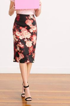 All Shades of Rose Pencil Skirt