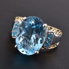 Swiss Blue Topaz and Malgache Neon Apatite 14K Yellow Gold and Platinum Over Sterling Silver Cocktail Ring
