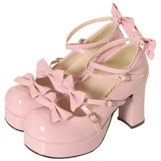 Pink lolita shoes with bows and heels.