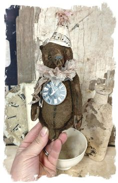 """Image of Shabby New Year : Tattered BROWN Teddy Bear - 6""""  By Whendi's Bears vintage antique artist handmade"""
