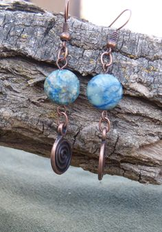 Blue Agate Earrings by BazaarCharlotte on Etsy