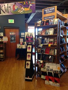 YA section at Village Books in Bellingham, WA featuring The Scar Boys by Len Vlahos.
