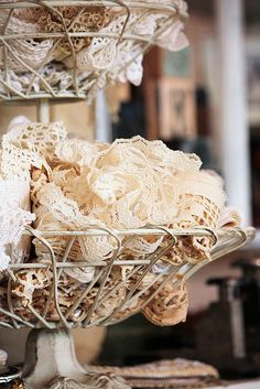 Vintage Lace, even scraps and imperfect pieces would look pretty arranged this way