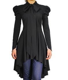 Gothic Victorian Steampunk Vintage Gypsy Black Top Blouse Dress