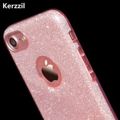 Kerzzil Candy Colors Bling CardPC Hard Case For iPhone 7 6 6S Plus Clear Shining Powder Back Cover For iPhone 6 7 6S Coque