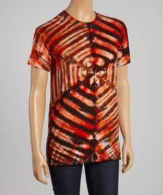 Another great find on #zulily! Burnt Orange & Black Hourglass Tie-Dye Tee #zulilyfinds