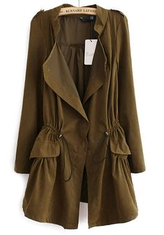 Love this Color! Coffee Color Drawstring Notch Lapel Cotton Blend Trench Coat