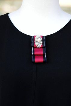 Brooch Pin Red Black bow pearl crystal accent Gift for