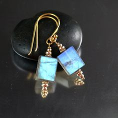 Labradorite Earring Rectangles in 24k Gold over Sterling Silver, Labradorite Earrings, Labradorite Gemstone