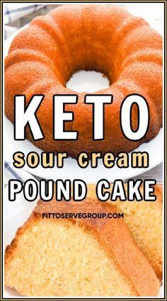 Low Carb Desserts, Low Carb Recipes, Cooking Recipes, Keto Desert Recipes, Sour Cream Pound Cake, Keto Dessert Easy, Keto Cake, Keto Cookies, Ketogenic Recipes