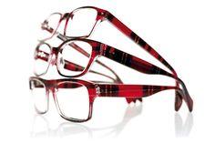 tartan frames.  Love.