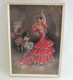 Piconera WILA Normill Framed Haigh & Sons 1950-60s Flamenco Dancer Vintage Print