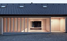 Innauer-Matt Architekten designed all-wood family house in a picturesque Austrian town Small Space Design, Empty Spaces, Main Entrance, Wooden House, Built In Storage, Small Rooms, Contemporary Architecture, Detached House, Second Floor