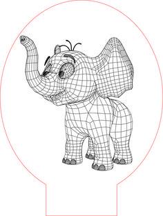 Cartoon elephant 3d illusion vector file for CNC - 3bee-studio