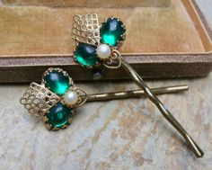 Decorative Emerald Green Pearl Hair Bobby Pins by WillowBloom