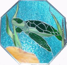 Turtle octagon - Some items - Gallery - Stained Glass Town Square Stained Glass Suncatchers, Faux Stained Glass, Stained Glass Panels, Stained Glass Projects, Stained Glass Patterns Free, Stained Glass Quilt, Stained Glass Designs, Mosaic Glass, Fused Glass