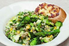 Barley salad with goat's cheese toast recipe