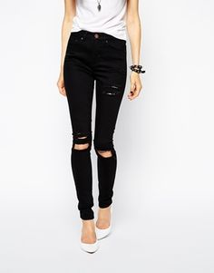 ASOS Rivington High Waist Denim Jeggings In Black With Ripped ...