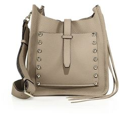 Rebecca Minkoff Small Unlined Studded Leather Feed Bag (380 CAD) ❤ liked on Polyvore featuring bags, handbags, shoulder bags, apparel & accessories, khaki, studded leather handbag, rebecca minkoff shoulder bag, studded leather purse, brown shoulder bag and genuine leather handbags
