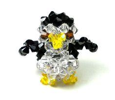 Beaded Animal Penguin Figurine by SmileykitCreations on Etsy