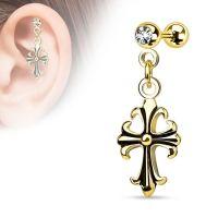 Helix piercing hanger celtic kruis met witte steen gold plated