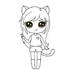 Kawaii Girl Drawings, Girl Drawing Sketches, Cute Girl Drawing, Girly Drawings, Cartoon Girl Drawing, Art Drawings Sketches Simple, Colorful Drawings, Easy Disney Drawings, Easy Doodles Drawings