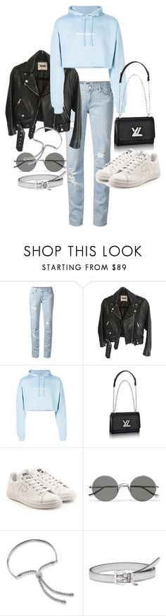 """""""Untitled #21879"""" by florencia95 ❤ liked on Polyvore featuring Paige Denim, Acne Studios, F.A.M.T., adidas, Sunday Somewhere, Monica Vinader and Miu Miu"""