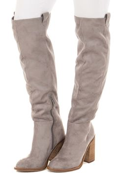 789f8106109a Grey Faux Suede Tall High Heeled Boot