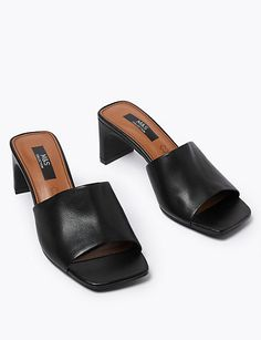 Leather Open Toe Mules | M&S Collection | M&S Platform Mules, Open Toe Mules, Mule Sandals, Denim Shop, Time Shop, Bra Shop, Leather Mules, Leather Working, Heeled Mules